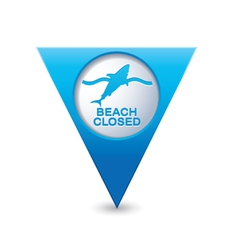Shark icon map pointer blue vector