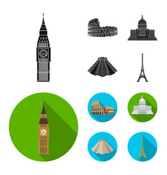 sights of different countries blackflat icons in vector image