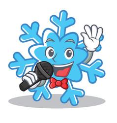 singing snowflake character cartoon style vector image