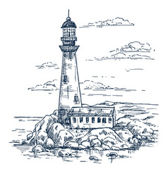 Sketch lighthouse on island with rocks vector