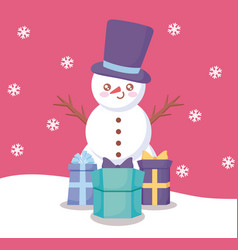 snowman with gift boxes of christmas vector image