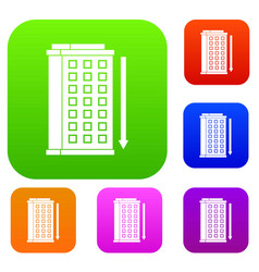 tall building and down arrow set color collection vector image