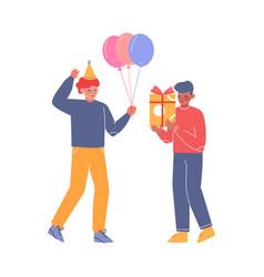 Teenagers having fun at birthday party boy vector