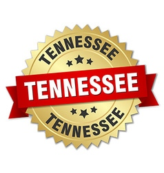 Tennessee round golden badge with red ribbon vector image