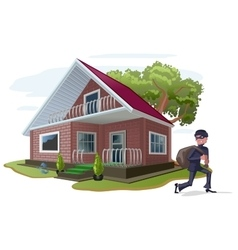 Thief robbed country house Property insurance vector image