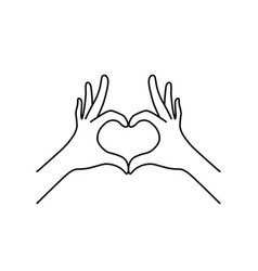 thin line heart hand gesture black icon vector image