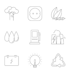 Types of energy icons set outline style vector image