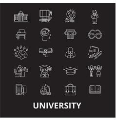 university editable line icons set on black vector image