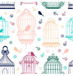 Vintage bird cages pattern vector