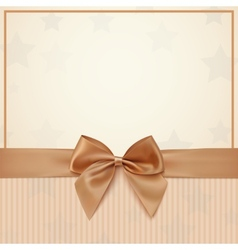 Vintage greeting card template with golden bow and vector