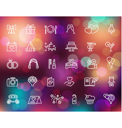 Wedding line icons set on colorful background vector