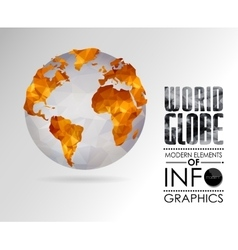 world globe triangular map of the earth vector image