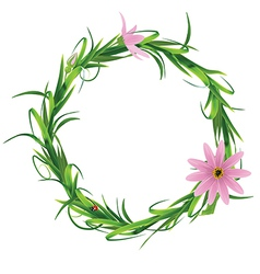 Wreath with blooming flowers isolated on a white vector