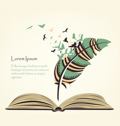 Writing pen multicolored feather with flying birds vector