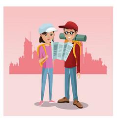 Young couple tourist map rucksack cap traveler vector