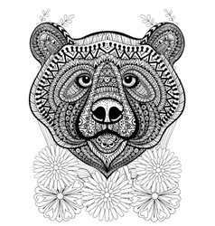 Zentangle stylized bear face on flowers Hand vector image