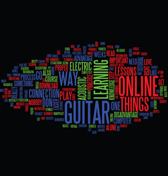 learn to play the guitar online text background vector image