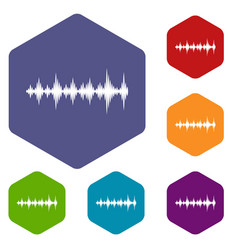 music sound waves icons set vector image