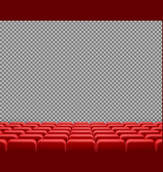 realistic rows of red empty cinema chairs vector image