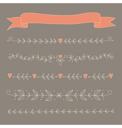 Set of hand drawn floral elements vector image vector image