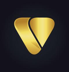 triangle shape letter v gold logo vector image vector image