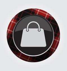 button with red black tartan - shopping bag icon vector image vector image