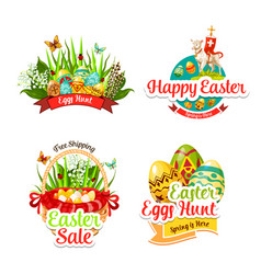 icons and paschal stickers for easter sale vector image vector image
