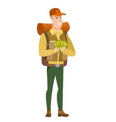 caucasian traveler holding money vector image vector image