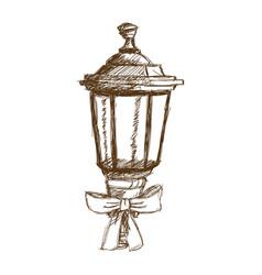 christmas lantern and bow ribbon vintage vector image