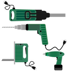 Drill screwdriver and hammer jigsaw vector image