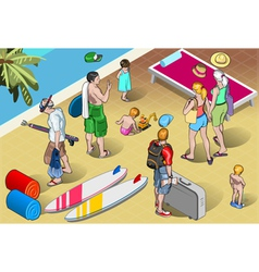 Isometric Tourists Peoples Set at Resort vector image