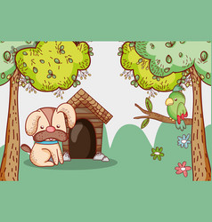 dog in the park doodle cartoon vector image