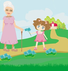 little girl gives flowers to grandmother vector image