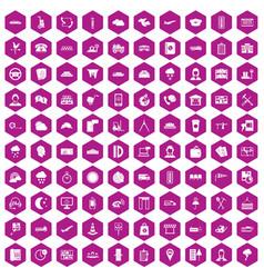 100 dispatcher icons hexagon violet vector