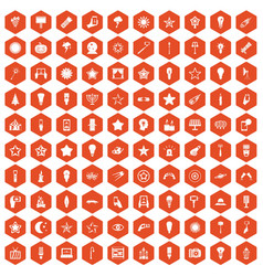 100 light icons hexagon orange vector