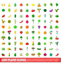 100 plant icons set cartoon style vector