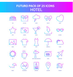 25 blue and pink futuro hotel icon pack vector