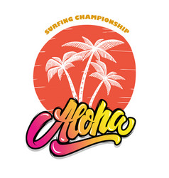 aloha palms with lettering design element vector image