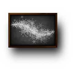 Background with blackboard and snowflakes vector image