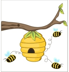 Bees fly out of a beehive vector
