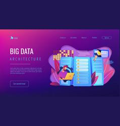Big data storage concept landing page vector