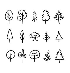 Big set of hand-drawn modern icons of trees and vector