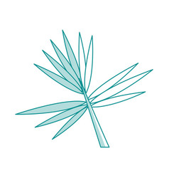 Blue silhouette image branch with thorns as leaves vector