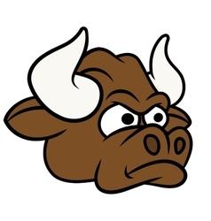 Cartoon angry bull head vector
