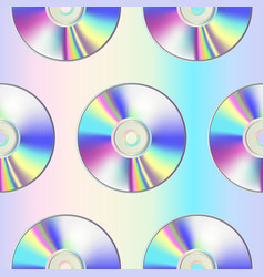 Cd disk seamless pattern on holographic background vector