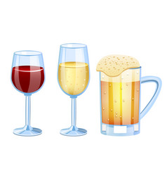 champagne beer vine set glass vector image