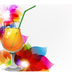 Cocktail and flowers vector image