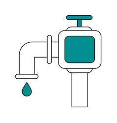 Color silhouette image watertap with drop icon vector