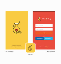 Company love drink splash screen and login page vector