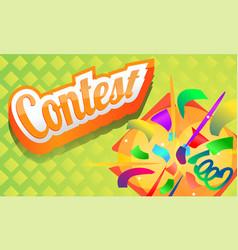 Contest concept banner cartoon style vector